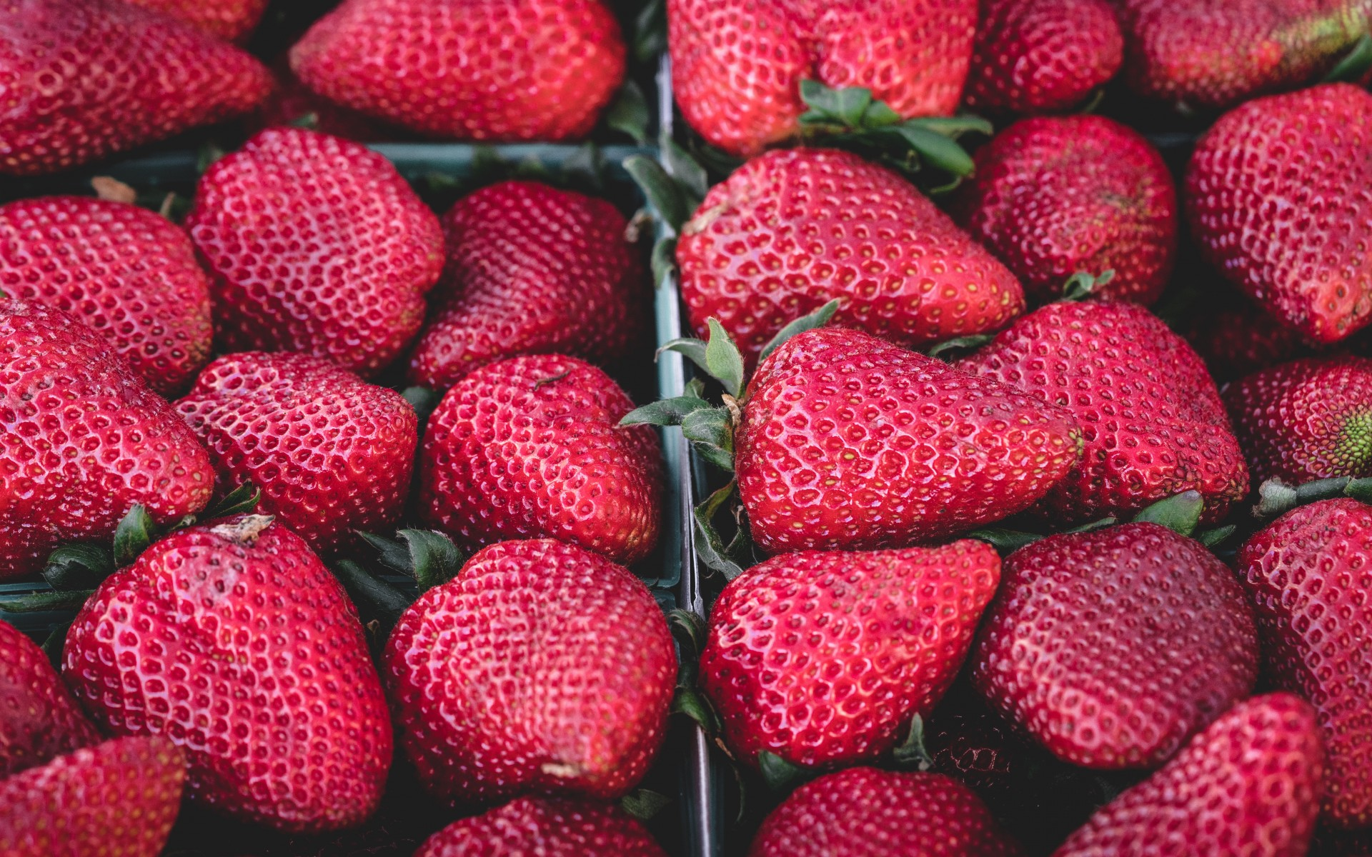Strawberry tails, lot strawberries, boxes, fruits,