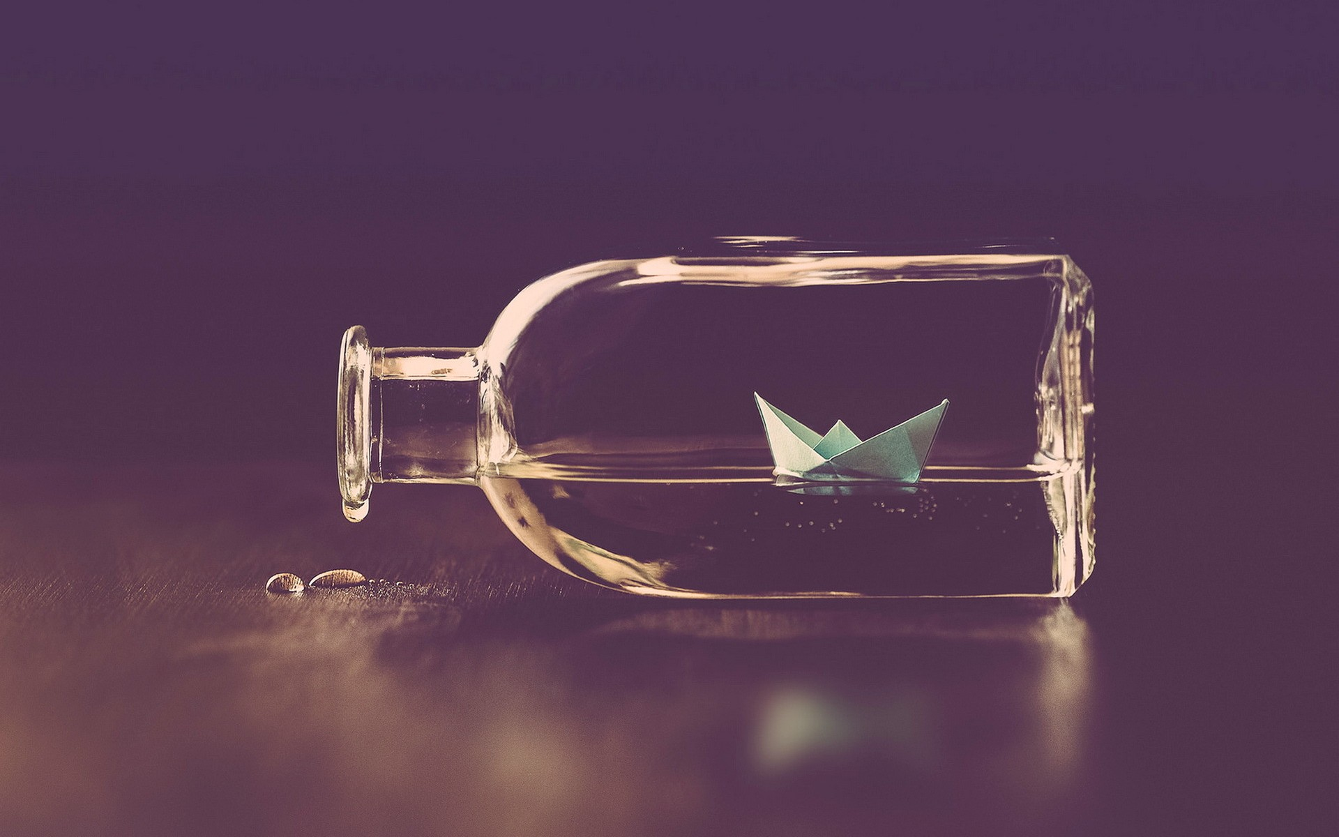 bottle message, water, surface, paper boat