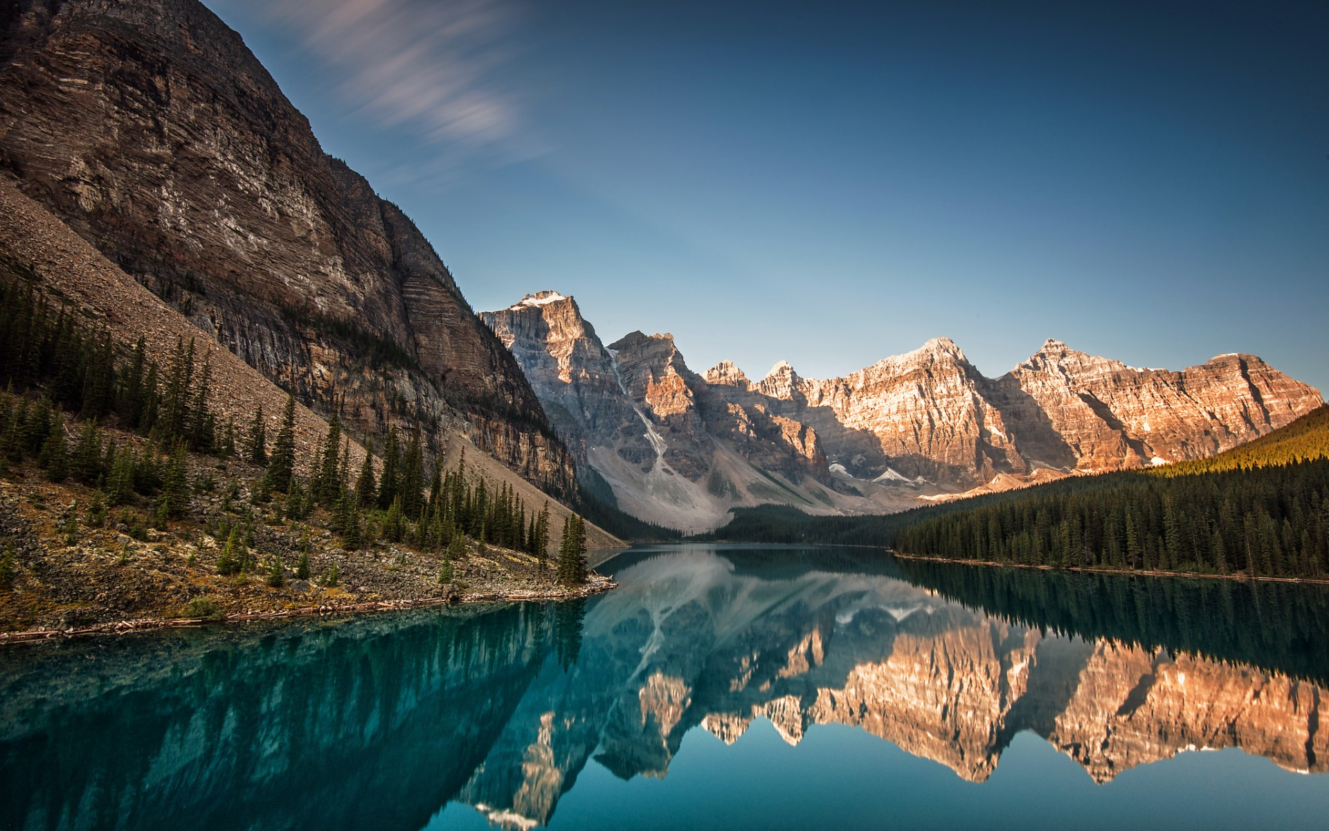 Peaks of mountains mirrored in the lake