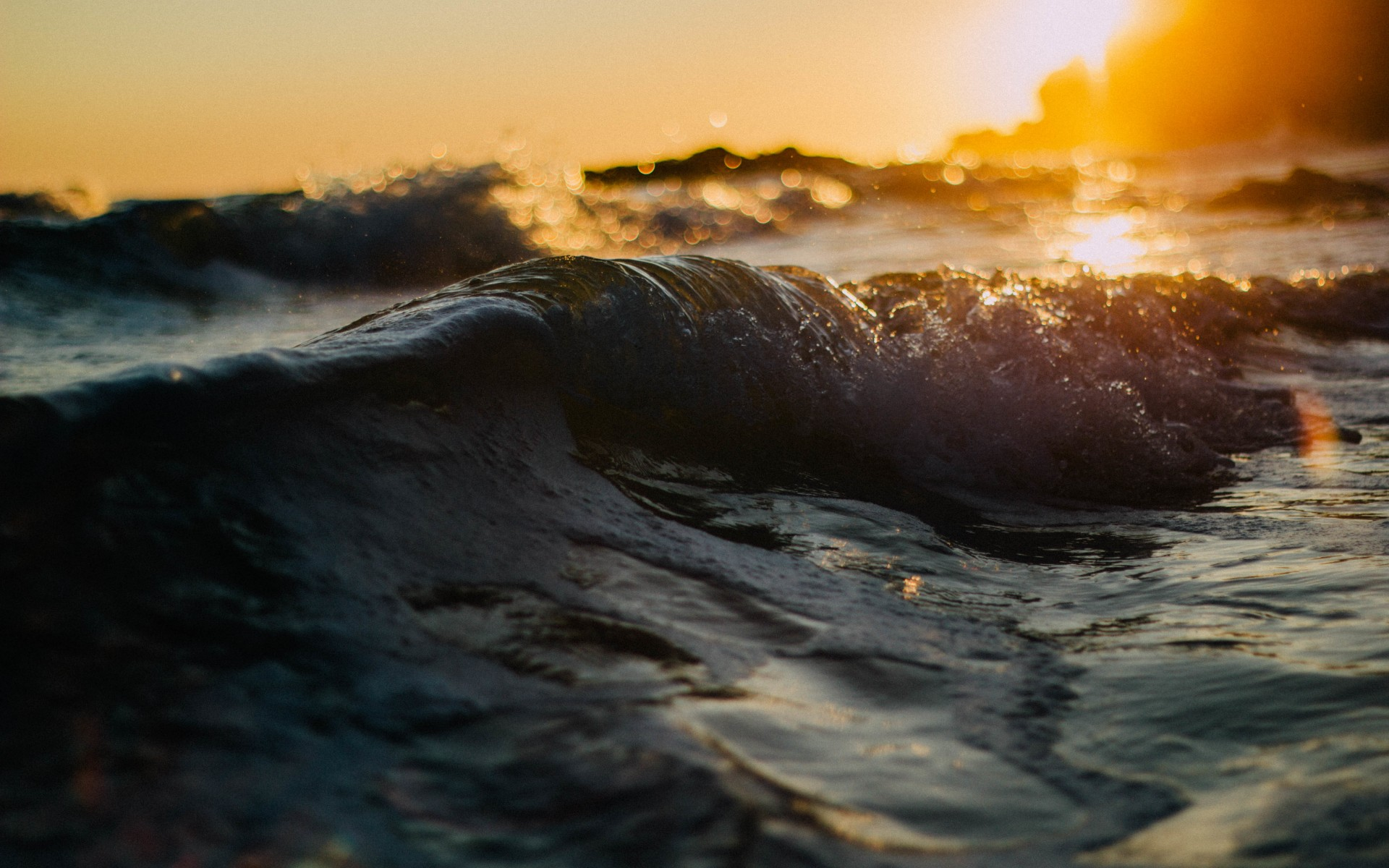 sea, waves,  sunset, water