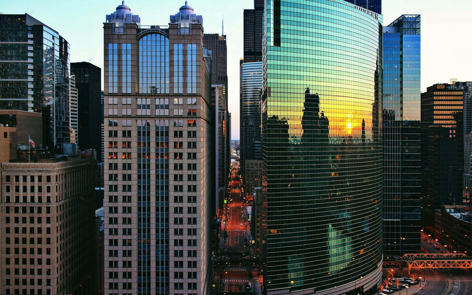 big city,  colorful buildings,architecture, skyscrapers, windows