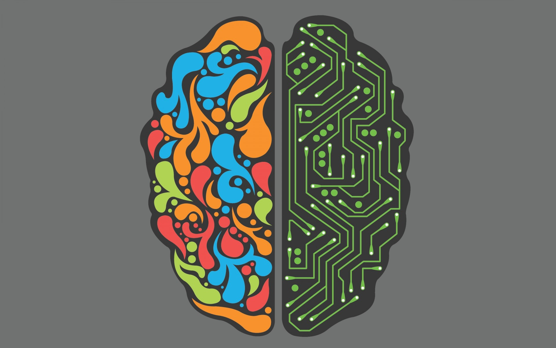 split brain, technology, multi colored