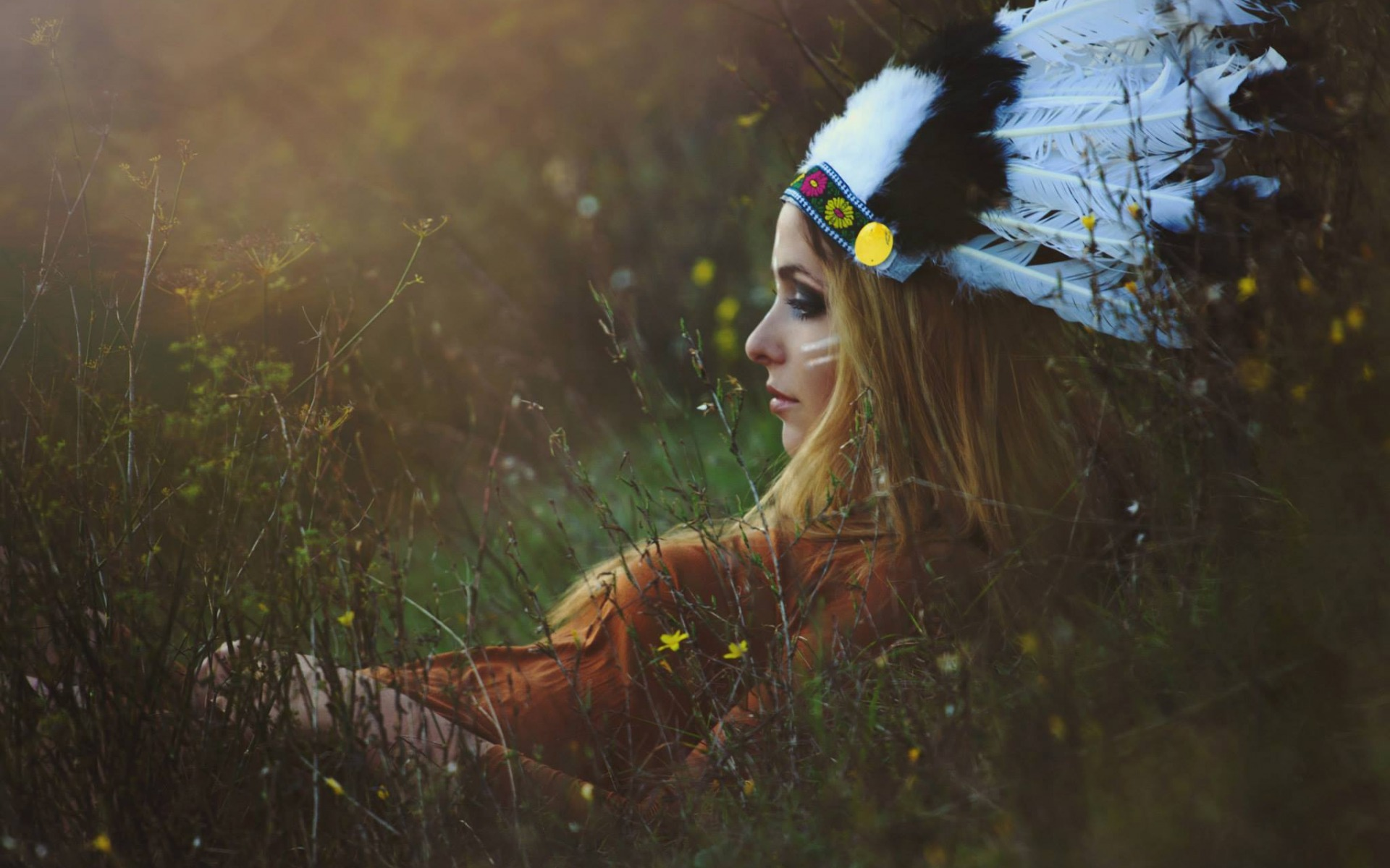 girl in the grass, indian hat, pocahontas, nature