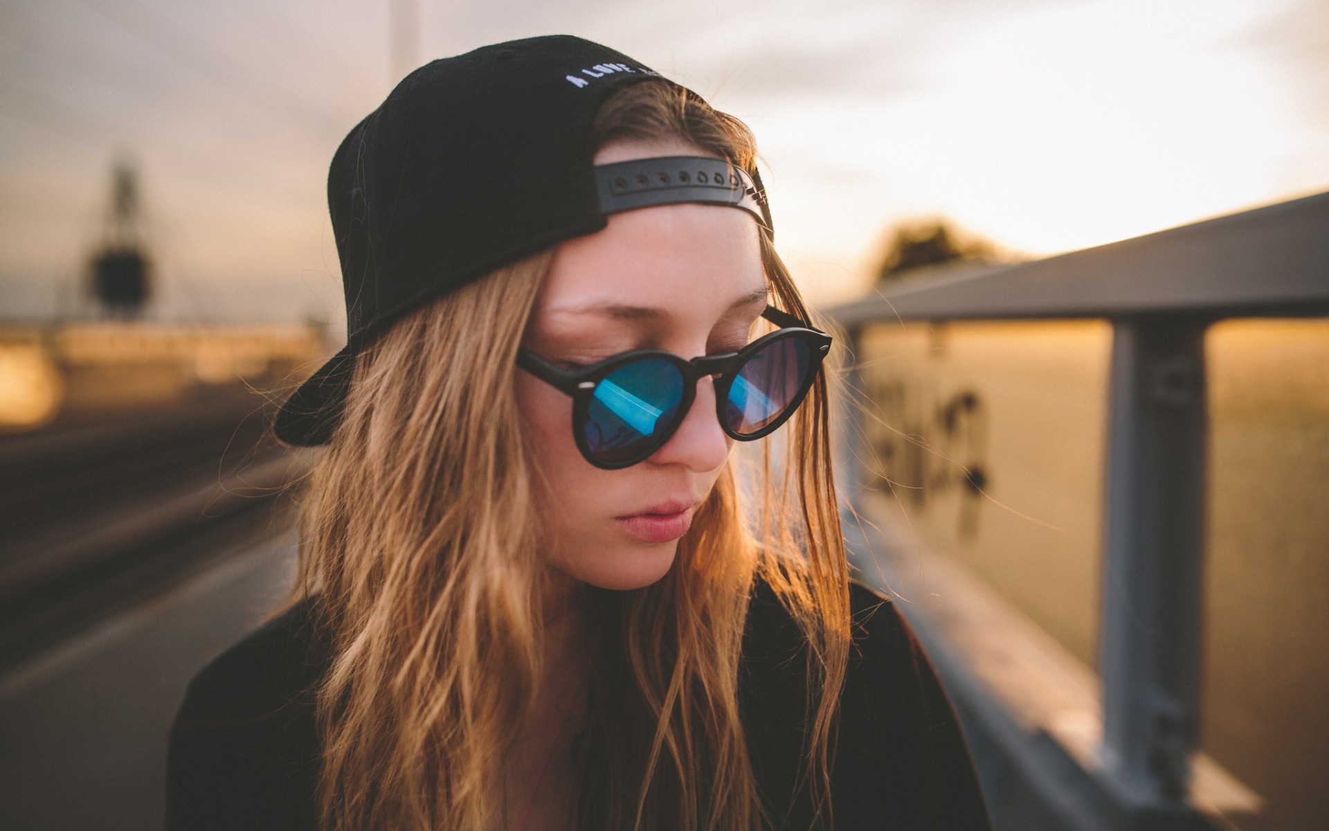cool girl, sunglasses, long hair, hat