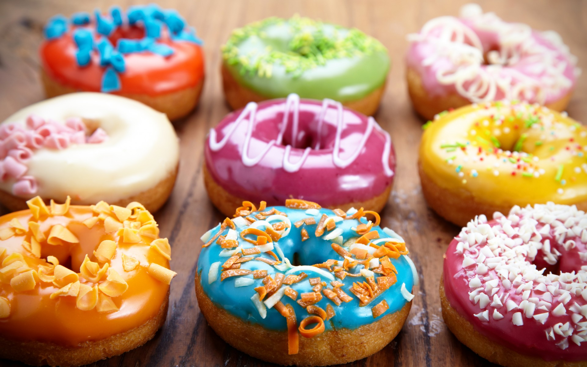 colored donuts, dessert, sweet