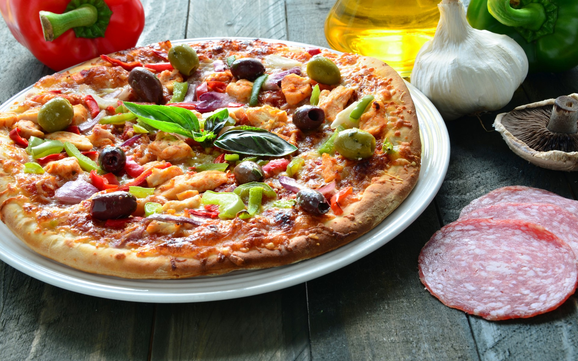 Large pizza on a plate