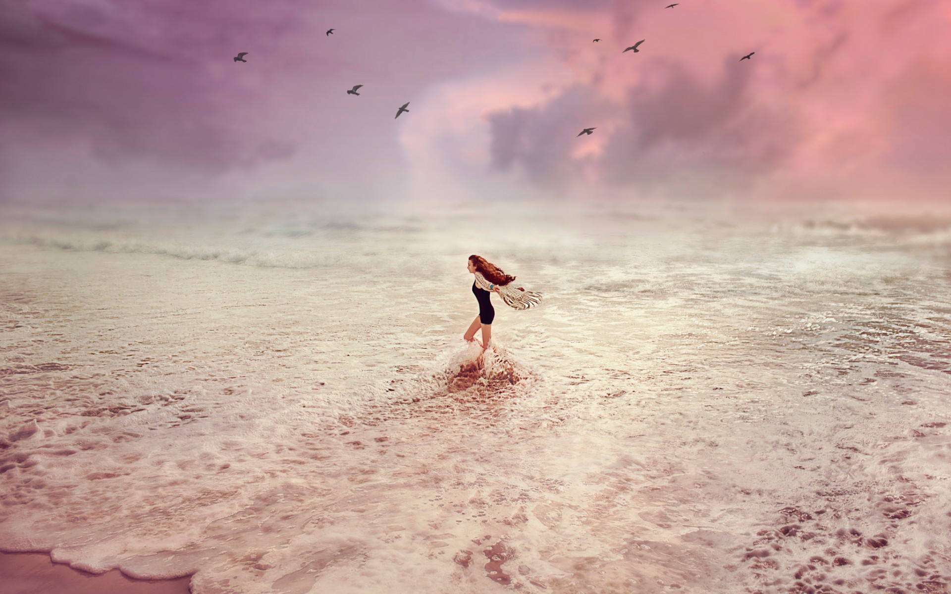 pink clouds, free birds, calm sea, moveing girl
