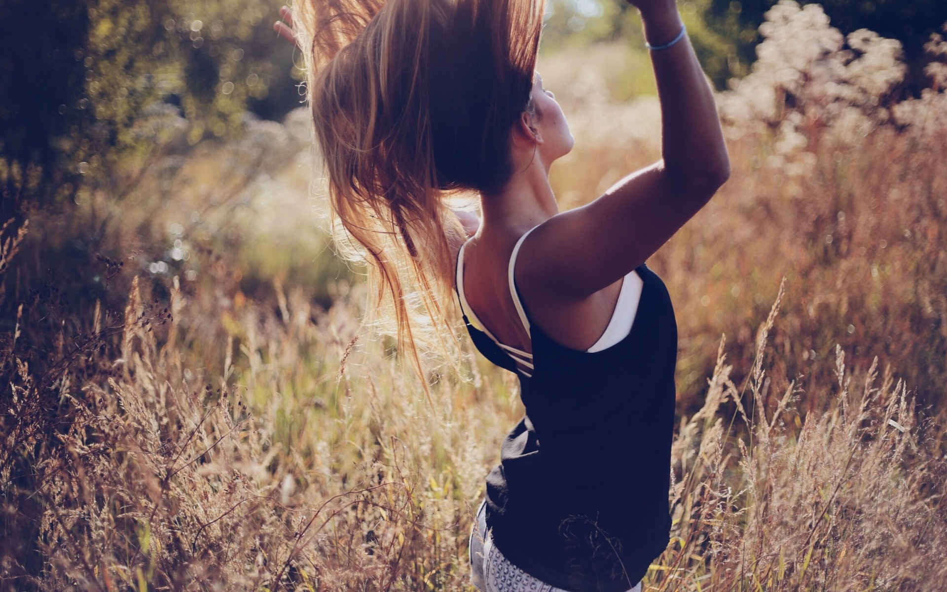 nature, beautiful girl, hair in the wind, freedom
